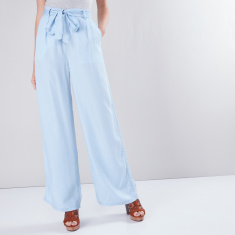 Denim Palazzo Pants with Pocket Detail and Tie Ups