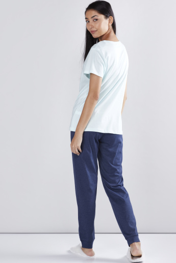 Printed Short Sleeves T-Shirt with Jog Pants