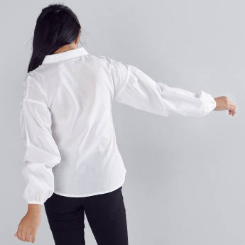 Flower Applique Detail Long Sleeves Shirt