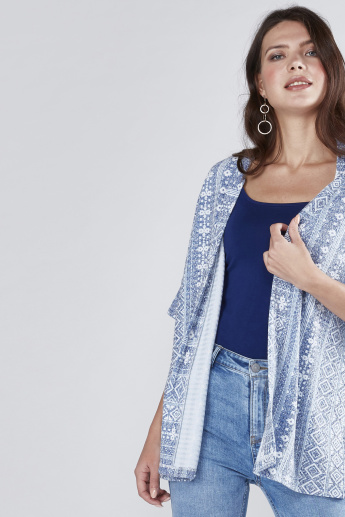 Printed Shrug with 3/4 Sleeves