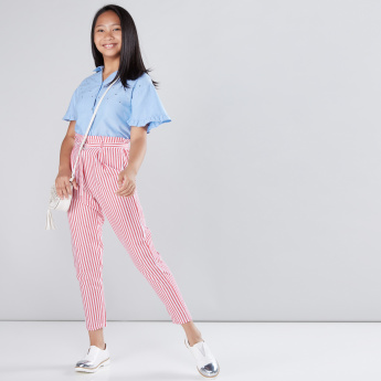 Striped Trousers with Paper Bag Waist