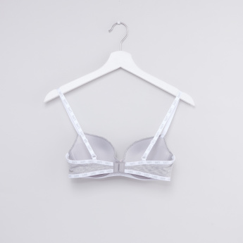 Tape Detail Plunge Bra with Hook and Eye Closure
