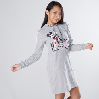 Mickey Mouse Printed Long Sleeves Sweat Dress