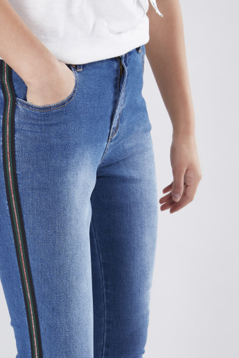 Cropped Jeans with Side Tape Detail