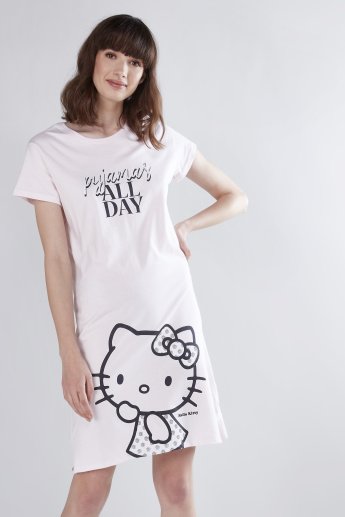 016f685dea4e Hello Kitty Printed Mini Sleep Dress with Round Neck and Short Sleeves |  Pink | Printed