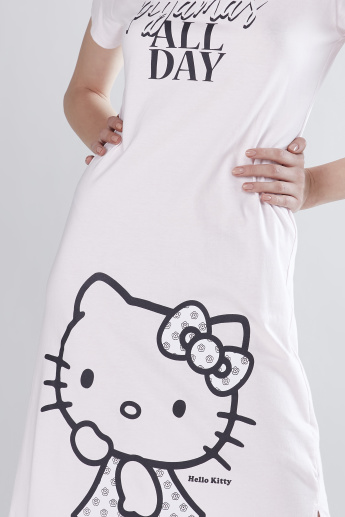 d923e0989e27 Hello Kitty Printed Mini Sleep Dress with Round Neck and Short Sleeves