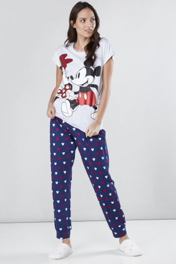 Mickey Mouse Printed T-Shirt and Pyjama Set