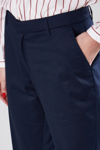 Pocket Detail Cropped Trousers in Wide Fit