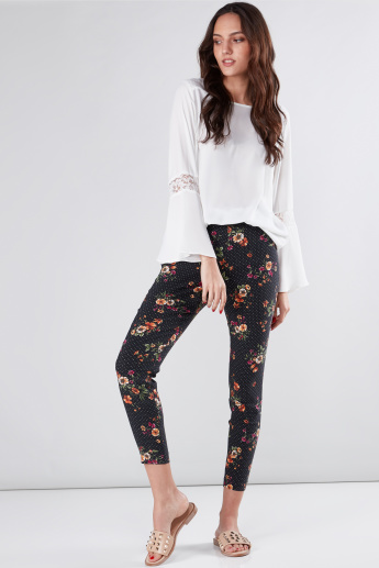 Printed Pull-On Style Pants with Elasticised Waistband