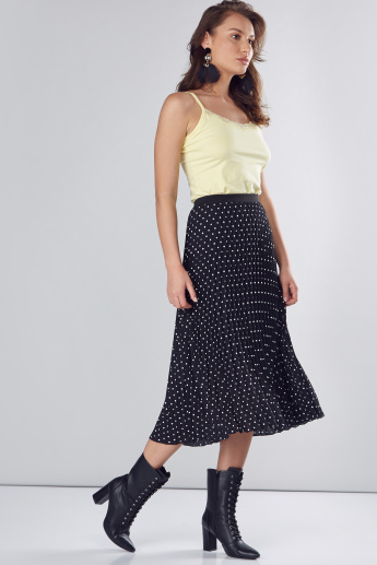 Printed Pleated Skirt with Elasticised Waistband