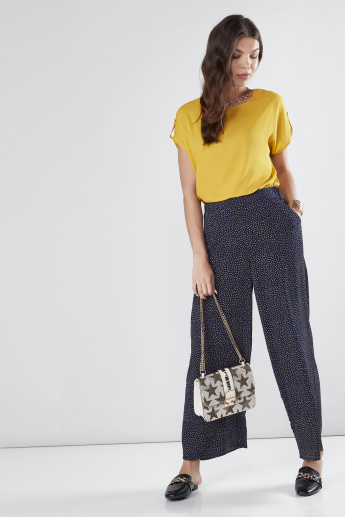 Printed Palazzo Pants in Wide Fit with Pocket Detail
