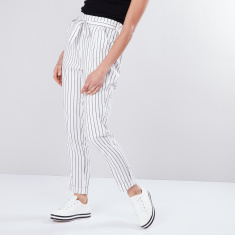 Striped Full Length Mid-Waist Paper Bag Pants with Tie Ups