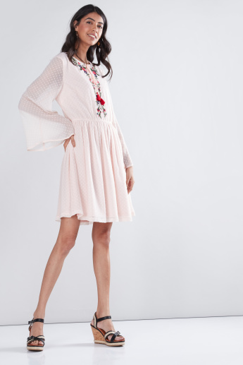 Embroidered Mini Shift Dress with Long Sleeves