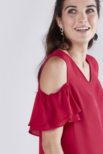 Cold Shoulder Top with V-Neck and Ruffle Detail