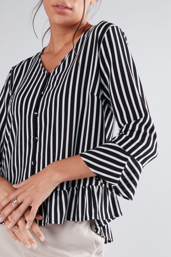 Striped Peplum Shirt with 3/4 Sleeves