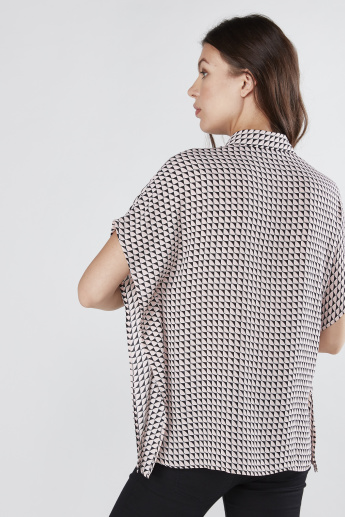 Printed Boxy Shirt with Complete Placket