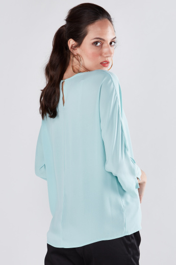 Solid Lapel Neck Top with 3/4 Sleeves