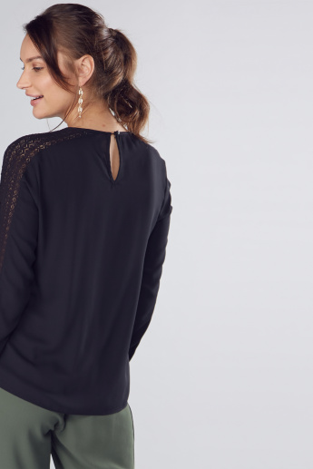Round Neck Shell Top with Lace Detail and Long Sleeves