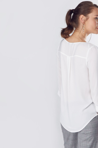 Round Neck Shell Top with 3/4 Sleeves