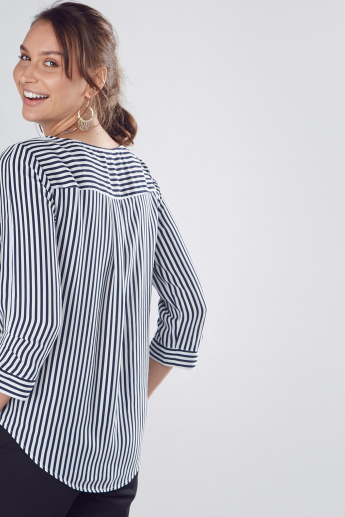 Striped Shell Top with 3/4 Sleeves