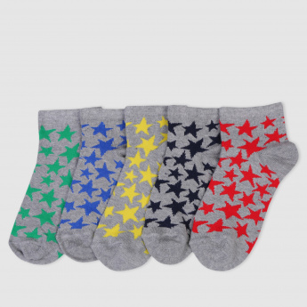 Ankle Length Socks with Stars - Set of 5