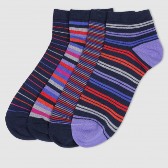 Striped Ankle Socks - Set of 4