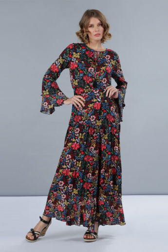 1ab4069a37 Floral Print Bell Sleeves Tiered Maxi Dress | Multicolour | Printed