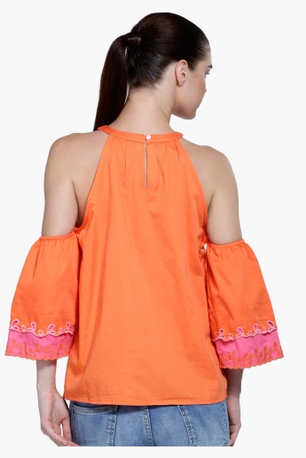 Cold Shoulder Top with Embroidery
