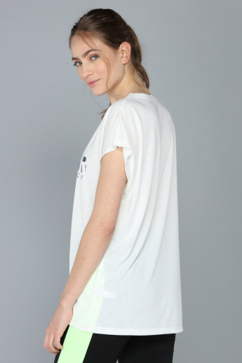 Printed Round Neck Oversized T-Shirt with Short Sleeves