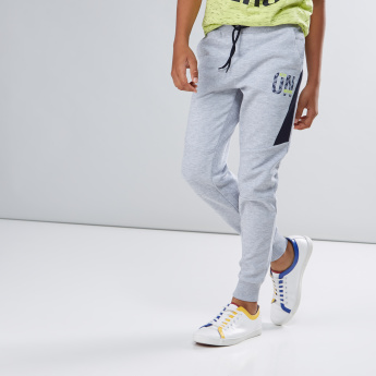 Printed Cut and Sew Jog Pants with Drawstring