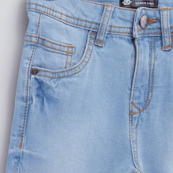 Pocket Detail Denim Shorts with Button Closure