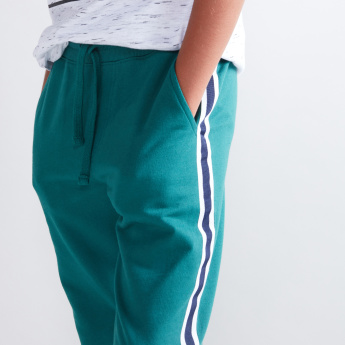 Tape Detail Jog Pants with Pocket Detail and Drawstring
