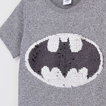 Batman Reversible Sequin Detail and Printed T-shirt with Round Neck