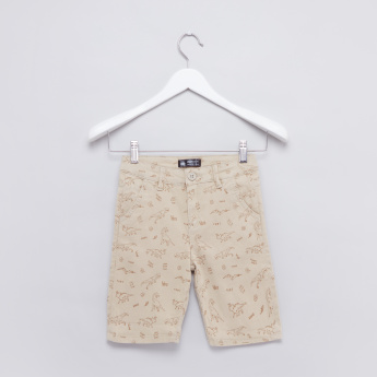 Printed Shorts with Button Closure and Pocket Detail