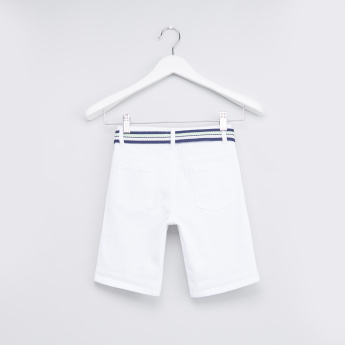 Embroidered Shorts with Pocket Detail and Button Closure