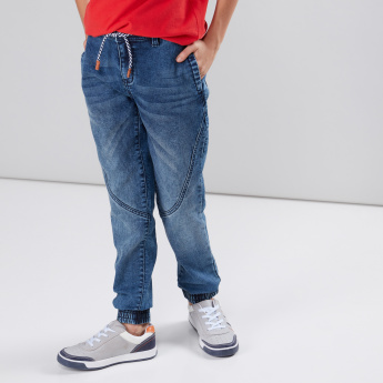 Pocket Detail Denim Jog Pants with Drawstring