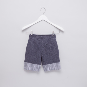 Panel Printed Shorts with Pocket Detail and Drawstring