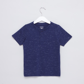 Printed Henley Neck Short Sleeves T-Shirt