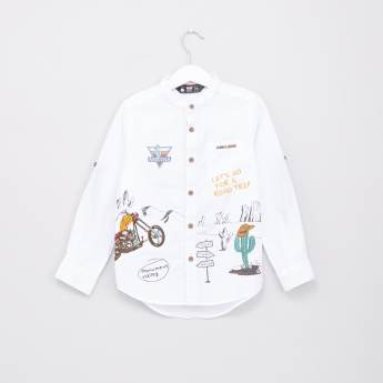 Printed Mandarin Collar Long Sleeves Shirt