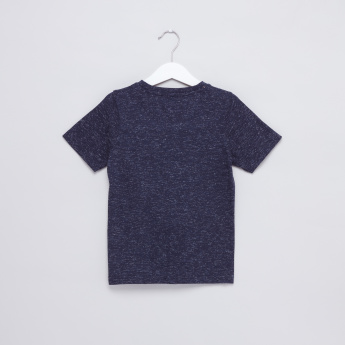 Slogan Printed Space Dyed T-Shirt