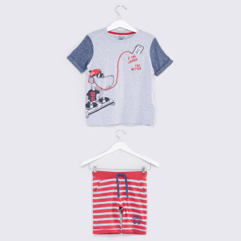 Printed Pocket Detail T-Shirt with Striped Shorts