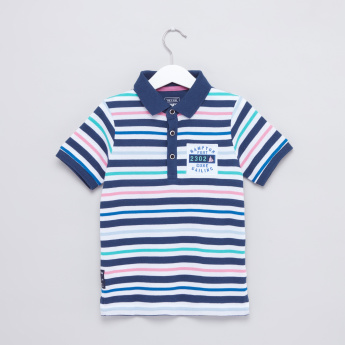 Striped Polo Neck Short Sleeves T-Shirt
