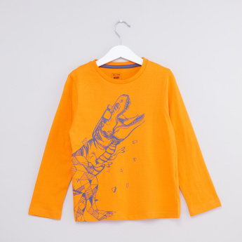 Dinosaur Printed Round Neck Long Sleeves T-Shirt