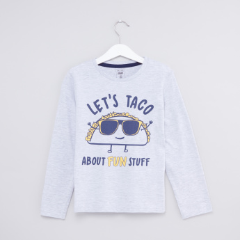 Taco Graphic Printed Round Neck Long Sleeves T-Shirt