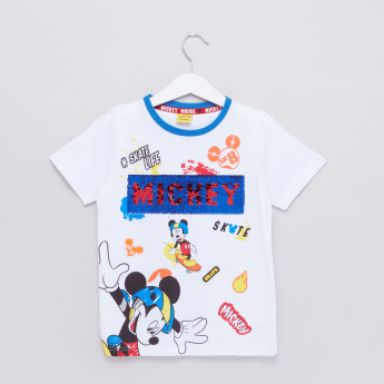 Mickey Mouse Embellished Round Neck Short Sleeves T-Shirt