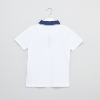 Textured Polo Neck Short Sleeves T-Shirt
