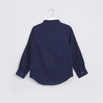 Textured Mandarin Collar Long Sleeves Shirt