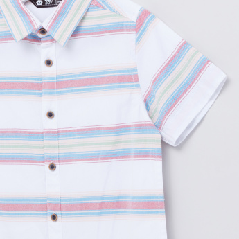 Striped Short Sleeves Complete Placket Shirt