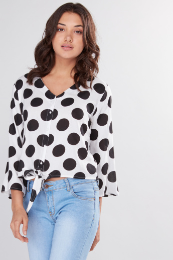 Printed Top with Long Sleeves and Tie Up