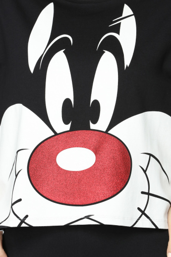 Looney Tunes Printed T-Shirt with Short Sleeves